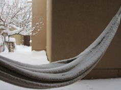 Yup, snow on a hammock. A hammock from the tropics no less.